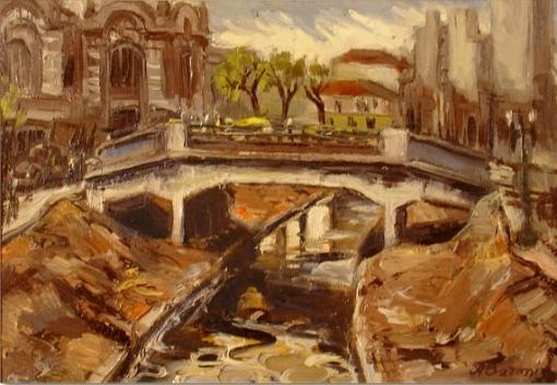 Aliberto Baroni, (1907-1994)Mercado de São Paulo com rio Tamanduateí. Óleo sobre placa, 23 x 35,5 cm.