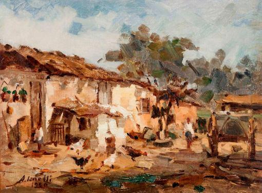 arcangelo-ianelli-paisagem-do-interior-com-casas-galinhas-e-carroca, 1950, ost, 46 x 61cm