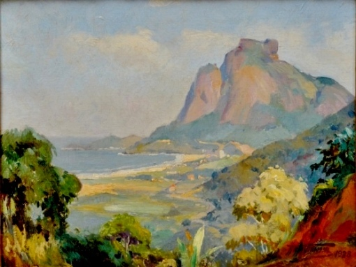 ARMANDO VIANNA (1897-1992) - São Conrado ao Fundo Pedra da Gávea,osm, 27 x 35. Assinado e datado (1938)