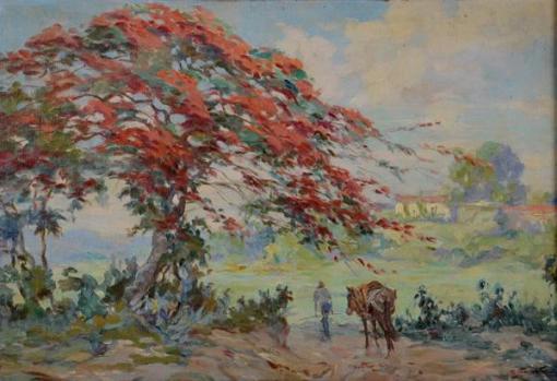 CADMO FAUSTO (1901 - 1983) - Paisagem - ost - 38 x 55
