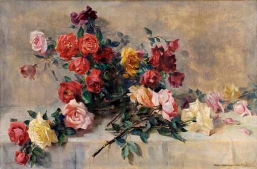 CARLOS OSWALD (1882 – 1971) Rosas Óleo sobre tela. Ass. inf. dir. 60 x 93 cm