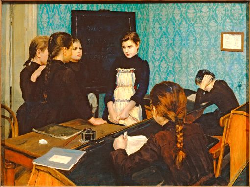 Emily Shanks, (Russia-Inglaterra, 1857-1936),'New Girl at School' (1892), oil on canvas 79 x 105 cm- The State Tretyakov Gallery.