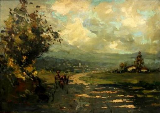 FRANCISCO CEA (1908-) - Paisagem Rural comCarroça, óleo sobre tela, med. 50 x 70cm, assinado.