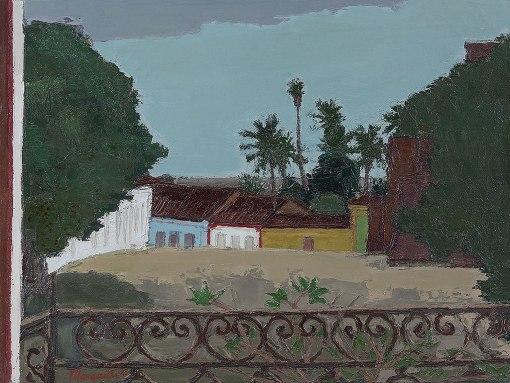 Ivan Maruetti, Vista da Praça, óleo s tela, 1983,  tit., sit. Alcântara, n. 83,,45 x 60 cm