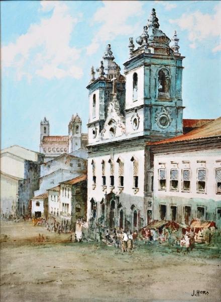 JAYME HORA (BAHIA, 1911-1977) - Casario e Igreja do Rosário dos Pretos no Pelourinho-Salvador, BA, óleo stela, 73 X 54.