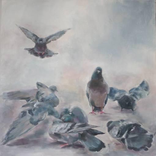 Marina Shkarupa Painting, Pigeons