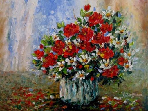 NADIA BRAGA - Vaso com flores, ost, 30x40cm,