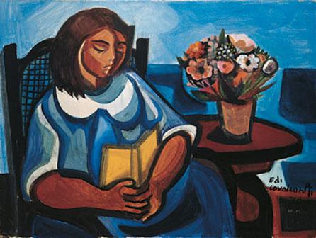 Pintura de Di Cavalcanti menina lendo, ost, 1970