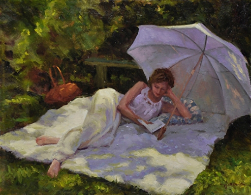 scott Harding (EUA,1965) Leitura de verão, ost, 28 x 36cm