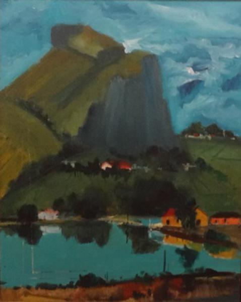 BRITO, ORLANDO (1920-1981)Canal da Barra ao Fundo Pedra da Gávea, óleo s tela, 42 x 34.