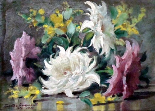 Gastão Formenti - Flores, óleo sobre placa, medindo 16cm x 22cm, assinado e datado em 1966 no CIE