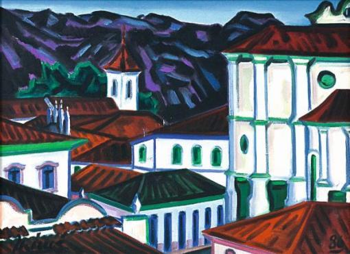 INIMÁ DE PAULA (1918 - 1999) - Igrejas de Diamantina - MG, o.s.t. - 46 x 61 cm. Assinado e datado 86 frente e verso e localizado no verso.
