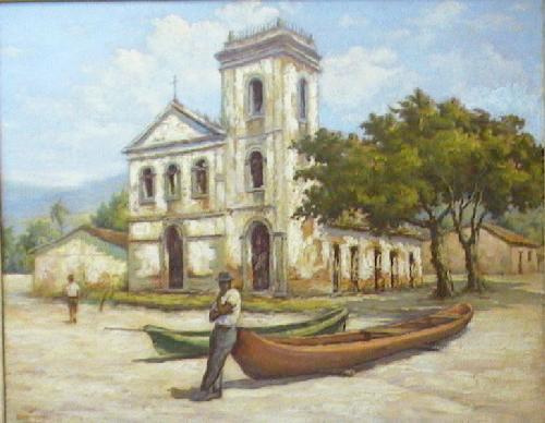 José Benevenuto Madureira (Brasil, 1903-1976),Igreja de Nossa Senhora da Conceição de Jurujuba,sd,c. 1950, óleo sobre tela, 80,5 X 99, PESP