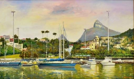 JOSE AZEVEDO (1977) - Barcos Ancorado na Marina da Gloria-RJ,ost,  60 x 1,00.