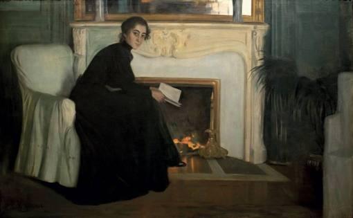 Santiago Rusiñol, Racconto romantico, 1894, Barcellona, Museu Nacional d'Art de Catalunya, oil on canvas, cm 140,5x221,5