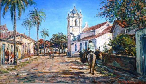 VAN DIJK, Wim (1915 - 1990) - Rua de Cabo Frio, com igreja de São Benedito, o.s.t. - 28 X 46 - Assinado cid e verso, datado 1980