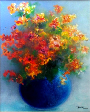 YUGO MABE, Vaso com flores - Óleo sobre tela - 72x60 cm - ACID 2000