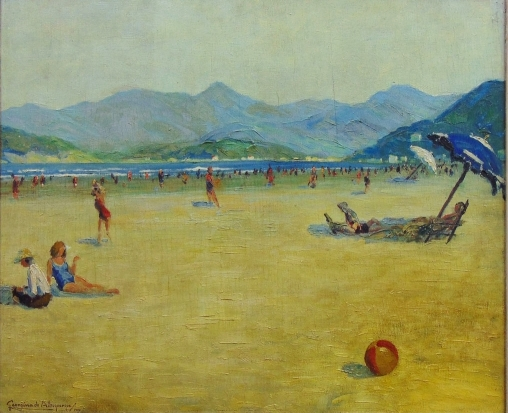 georgina-de-albuquerque-1885-1962domingo-de-sol-na-praia-de-santos-oleo-s-tela-65-x-80-assinado-e-datado-1950-no-c-i-e