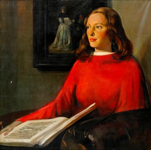 Hans van Meegeren (holandaa, 1880-89-1947) Retratro de Paulina Viola de Boer, 1944. Ost, . 115 x 117 cm