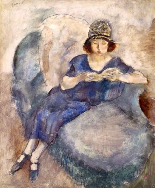 jules-pascin-girl-in-blue-dress-on-sofa-reading-jules-pascin-circa-1922