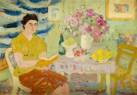 mulher-lendo-um-livro-janina-sussle-muszkietowa-polonia-1903-1956oleo-sobre-papelao-33-x-48-cm