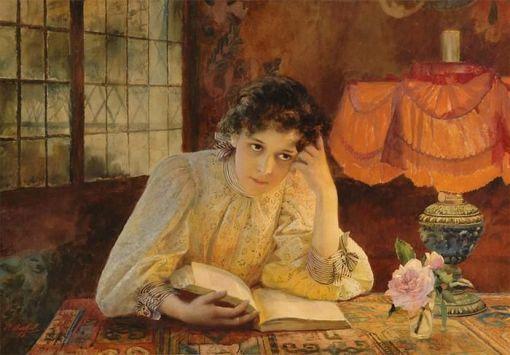 Paul Barthel(Alemanha, 1862-1933), Moça lendo, ost,