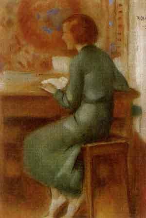 Pietro Chiesa( Suiço, 1876 - 1959), Mulher sentada  à mesa, 1936, pastel sobre papel, 19 x 13cm