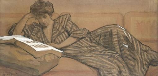 René Xavier François Prinet (frança,1861-1946)jeanne prinet lendo, crayon, aquarela sobre papel, 55 x 106 cm