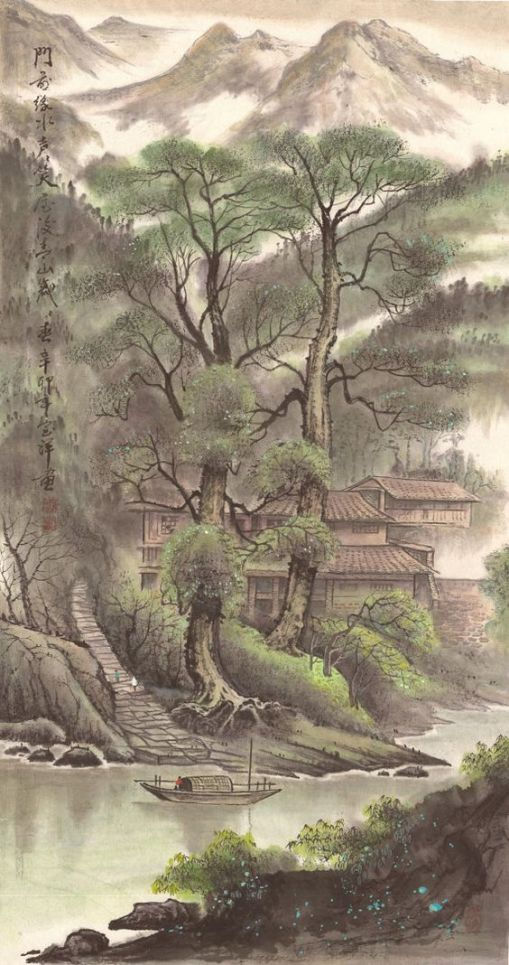 antique-village-original-chinese-landscape-by-1804creation