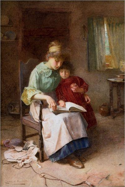carlton-alfred-smith-inglaterra-1853-1946mae-e-filha-lendo-um-livro-aquarela-20-x-32cm-1897