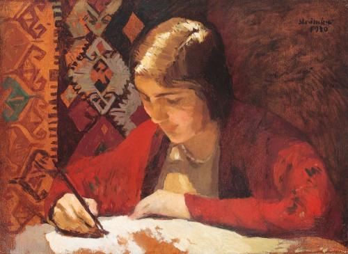carta-de-amor-1930-ipolit-strambu-romenia-1871-1934-oleo-sobre-cartao-50x-70cm