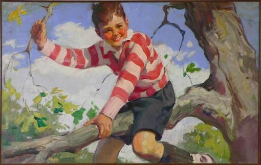 haddon-hubbard-sundblom-eua-1899-1976menino-na-arvore-1929ost-20-x-33cm-anuncio-para-cream-of-wheat-1929