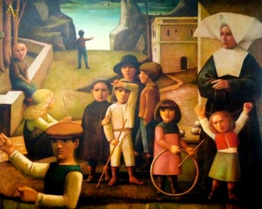 reynaldo-fonseca-brasil-1925criancas-no-patio-gicle-sobre-tela-80-x-1-00