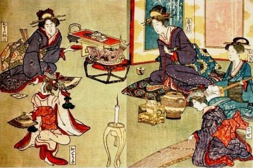 kiseru-woodblock-print-geisha-dinner-1916