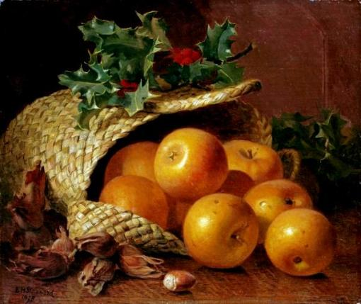 eloise-harriet-stannard-still-life-with-apples-hazelnuts-and-holly-art