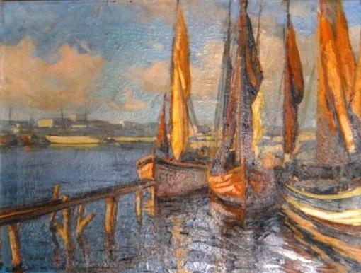 carol-kossak-polonia-1845-brasil-1968-marinha-com-veleiros-oleo-s-tela-60-x-455-cm