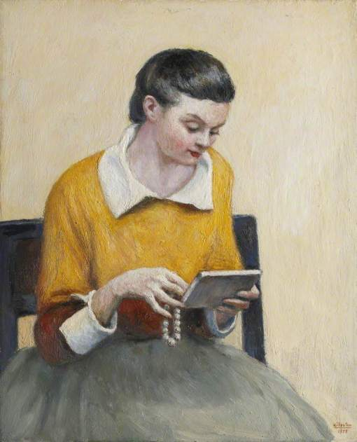 van Houten, Georges, 1888-1964; Portrait of a Seated Lady in Yellow and Green Reading