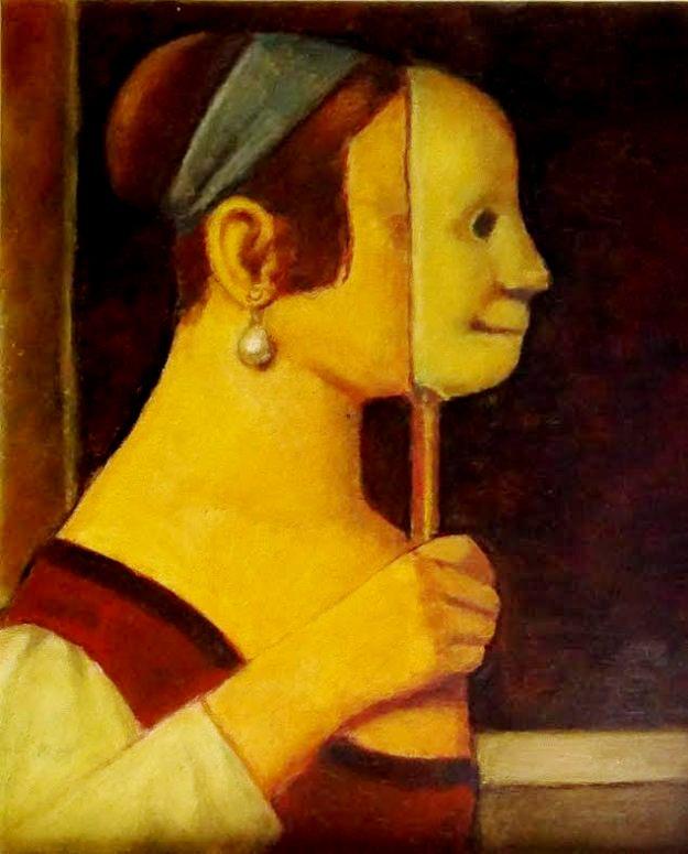 reynaldo-fonseca-brasil-1925-mulher-com-mascara-oleo-sobre-papel-70-x-50-cm