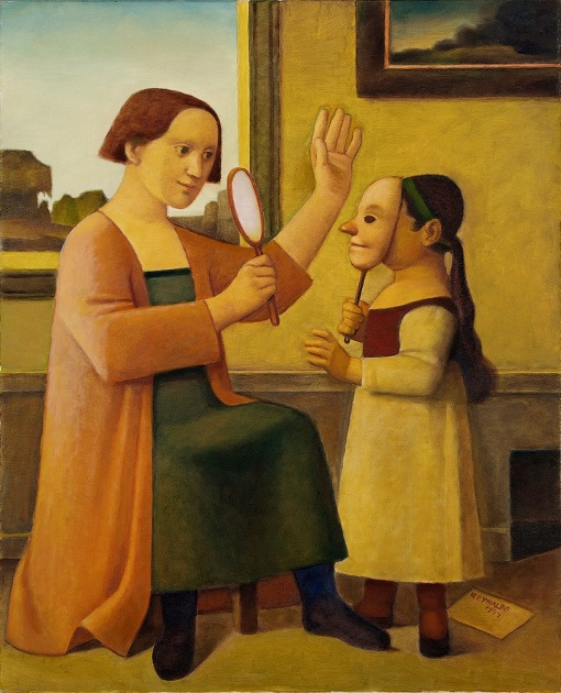 reynaldo-fonsecamae-e-filha-com-mascara-e-espelho1997oleo-sobre-tela101-x-82-cm