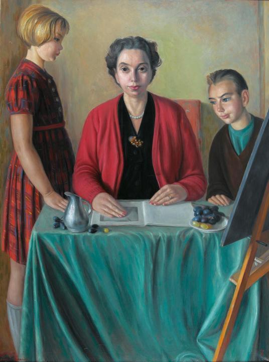 Aime Barraud, la famille de l'artiste,ost, 130.50 x 97.50 cm