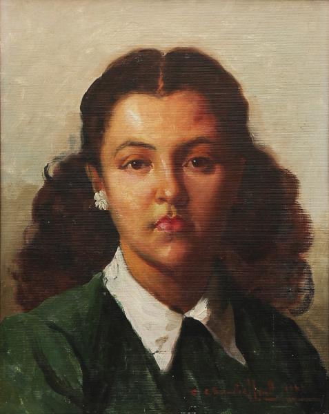 CARLOS CHAMBERLLAND (1884-1950) -Portrait de Jovem com Brinco, óleo sobre tela, med. 40 x 32cm