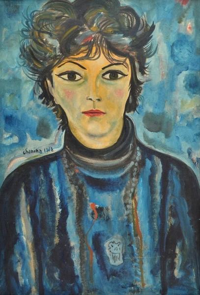 CHANINA (1927-2012). Dama de Vestido Azul, óleo stela, 73 X 50. Assinado e datado (1968)