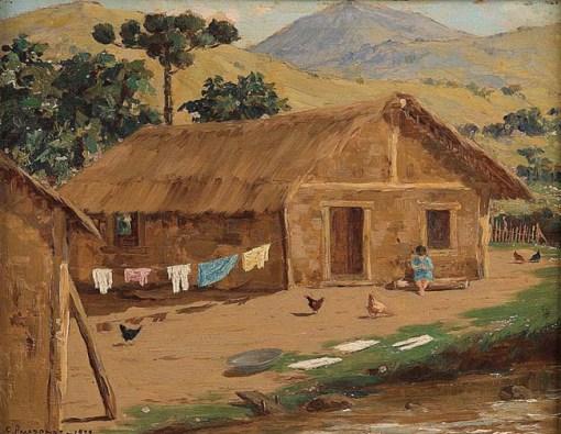 Clodomiro Amazonas,Paisagem com figura e galinhas,os madeira ,1929, 23,5 x 30 cm.