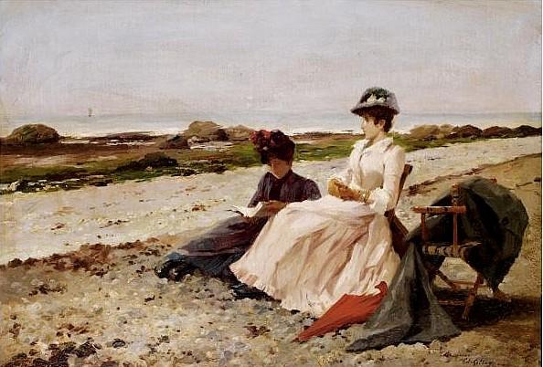 Edouard Gelhay(França, 1856-1939)Elegantes na praia, ost, 23x44cm