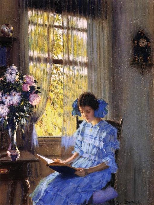 Edward Dufner (EUA, 1872-1957) Margaret à janela , ost, 40 x 30 cm