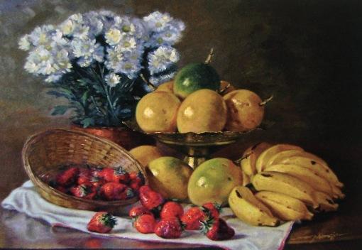 FLORÊNCIO - Mracujás, bananas e morangos - Óleo sobre tela - 40 x 50