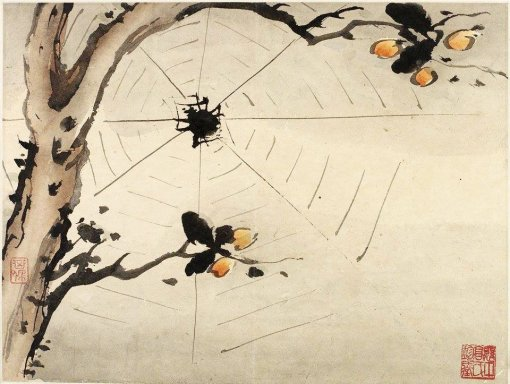 gao-qipei-finger-painting-of-a-spider-on-a-web-china-1684