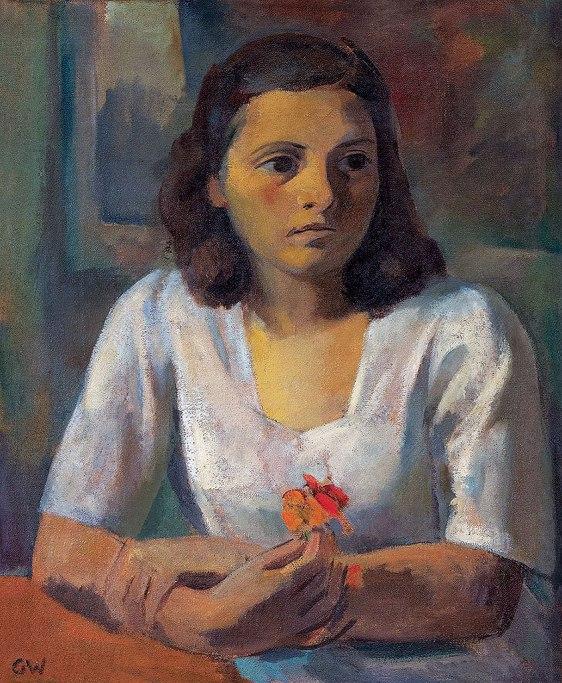 GastãoWORMS,Mulher com Flor na Mão,óleo s tela ccmadeira(década de 1940)65 x 54 cm