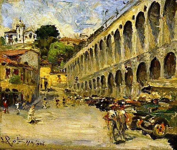 GOTUZZO, Leopoldo (1887 - 1984) - Arcos da Lapa, o.s.t. - 28 X 32 cm. Assinado datatado 1946