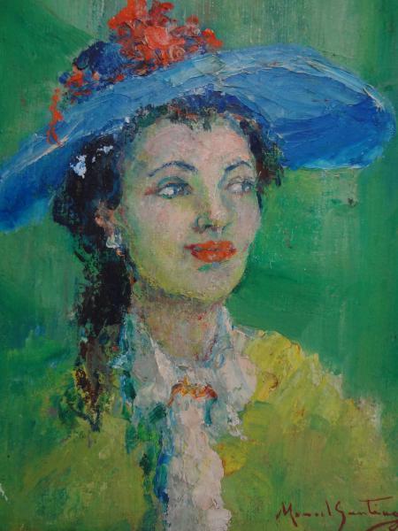 MANOEL SANTIAGO (1897 - 1987) Mulher com Chapéu azul, o.s.t. - 41 x 33 cm